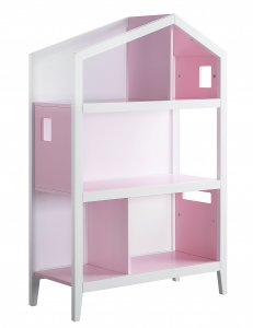 """14"""" X 33"""" X 50"""" White Pink Wood Bookcase"""