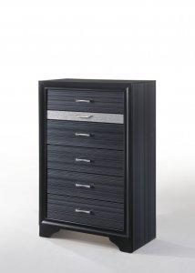 "Sleek 51"" Black 6 Drawer Chest Dresser"