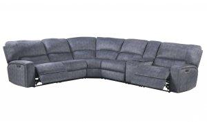"""138"""" X 127"""" X 41"""" Slate Blue Velvet Upholstery Metal Reclining Mechanism Sectional Sofa (Power Motion)"""