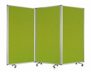 Green Rolling 3 Panel Room Divider Screen