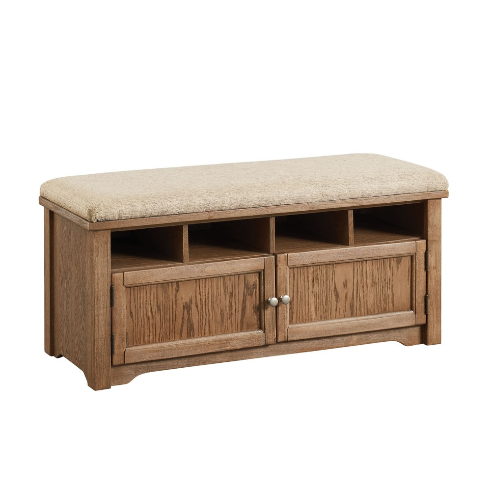 Spacious Wooden Shoe Bench with Linen Upholstered Cushioned Seat, Beige and Brown