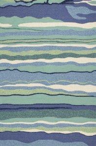 8'x10' Ocean Blue Hand Woven UV Treated Ocean Waves Indoor Outdoor Area Rug