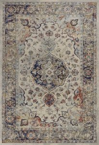 10'x13' Ivory Machine Woven Floral Medallion Indoor Area Rug