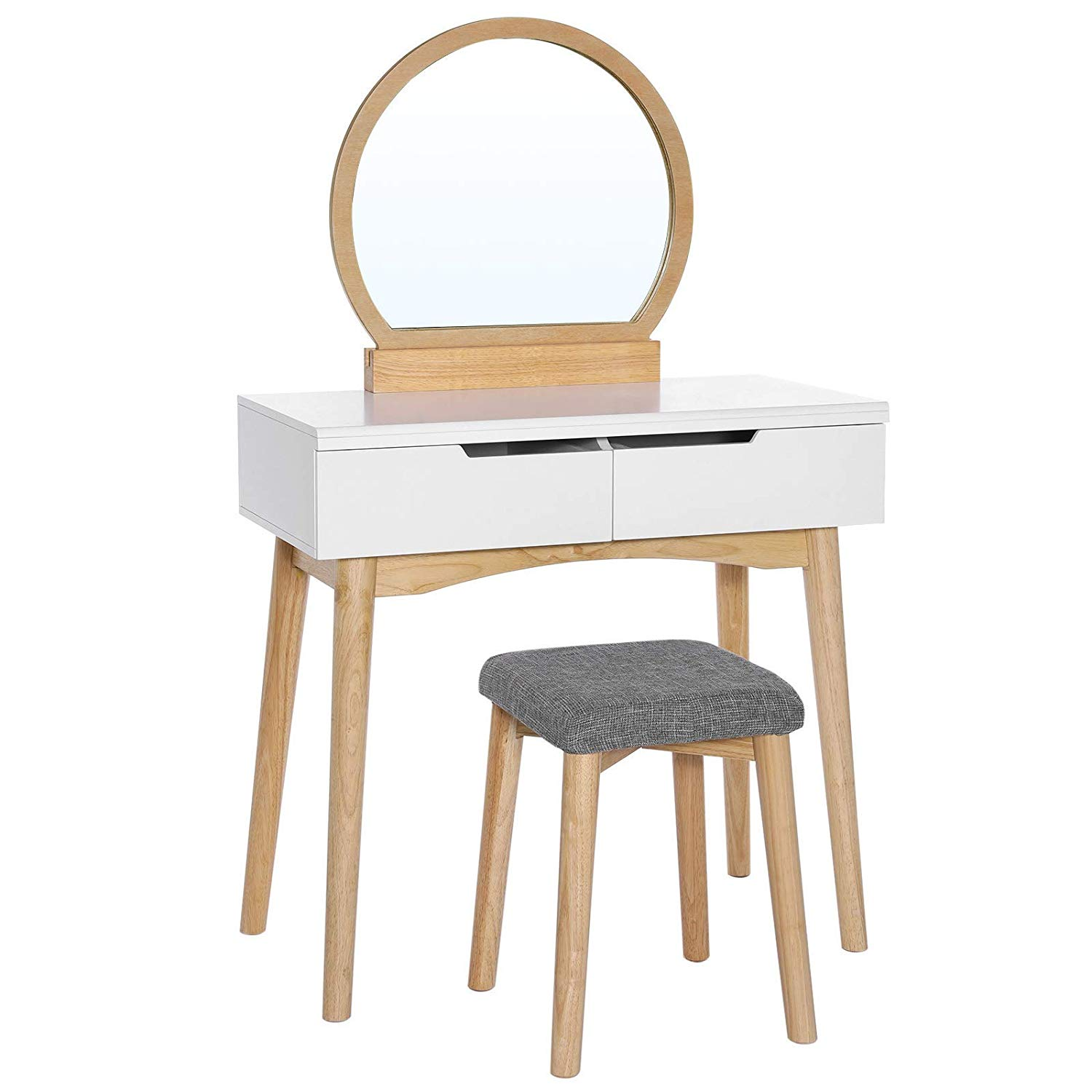 Wooden Vanity Set with 2 Drawers and Round Mirror, White and Brown