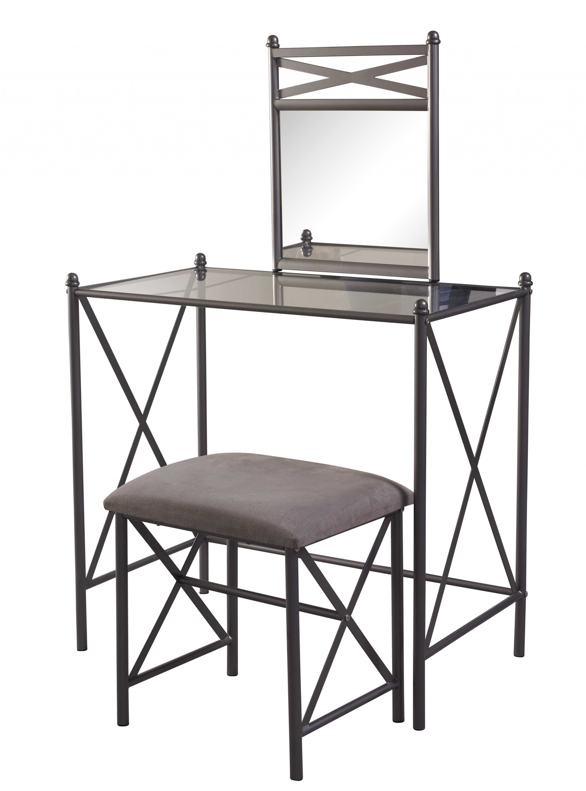 Metal and Glass Vanity Set with Crossbar Support, Brown and Black