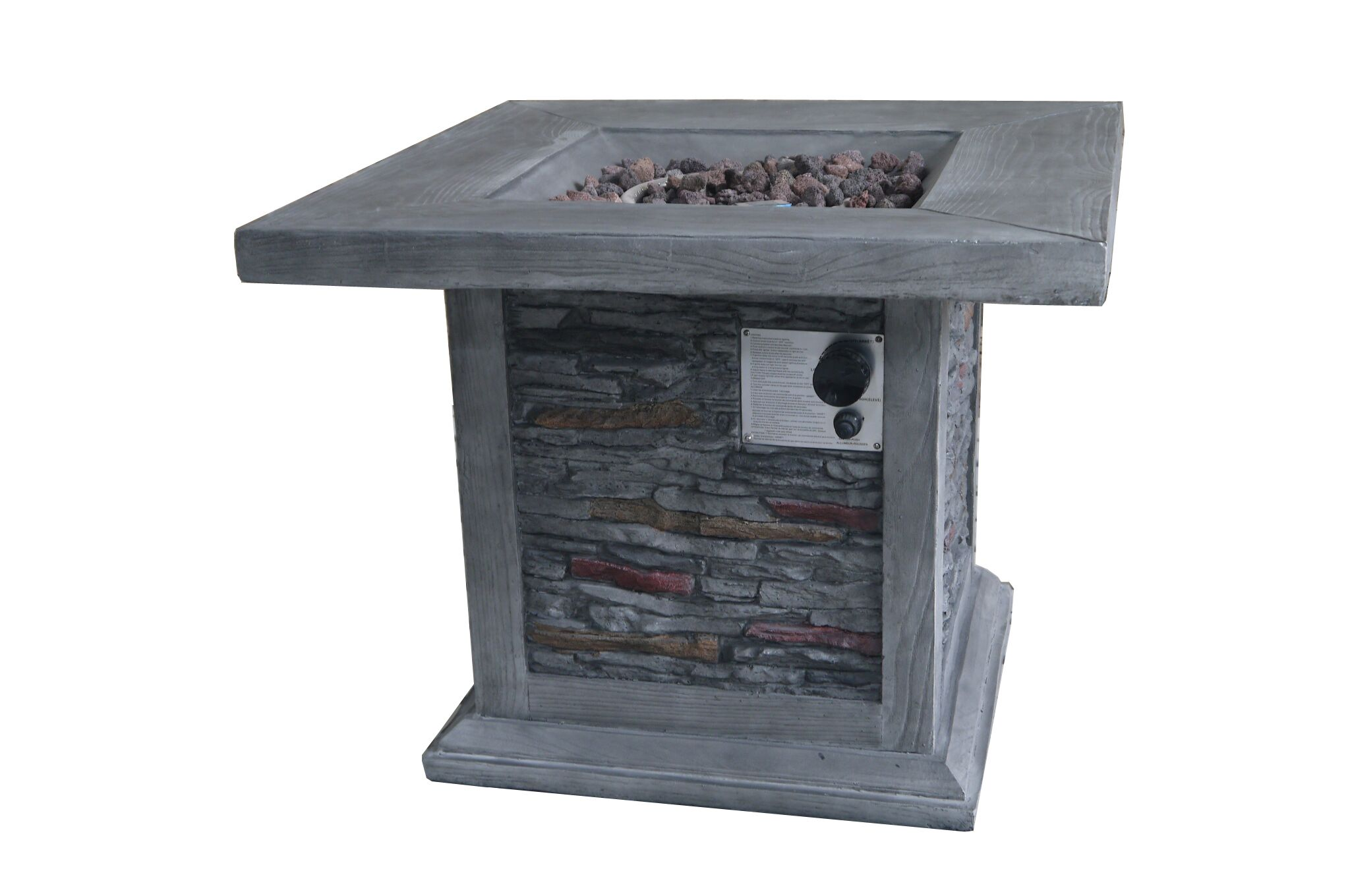 Wood Look Outdoor Gas Fire Pit with Stone Cladding and Lava Rocks,Gray