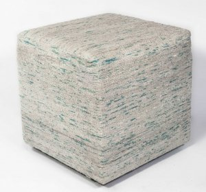Ice Blue Viscose Square Pouf with Linear Pattern