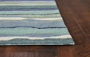 2'x3' Blue Teal Hand Hooked UV Treated Abstract Waves Indoor Outdoor Accent Rug