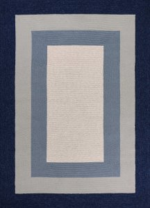 2'x3' Slate Navy Blue Hand Hooked UV Treated Bordered Indoor Outdoor Accent Rug