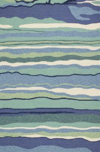 3'x5' Blue Teal Hand Hooked UV Treated Abstract Waves Indoor Outdoor Area Rug