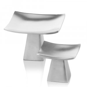 """6"""" x 6"""" x 4"""" Matte Silver Pedestal Candle Holders Set of 2"""