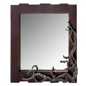 """3"""" x 33"""" x 32"""" Brown and Silver Vine Wall Mirror"""