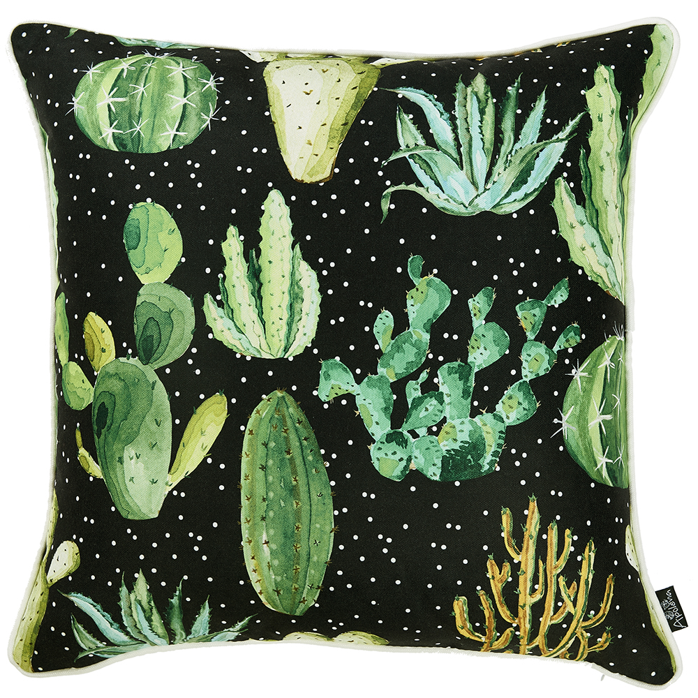 "18""x 18"" Printed Cactus Madness Decorative Throw Pillow Cover"