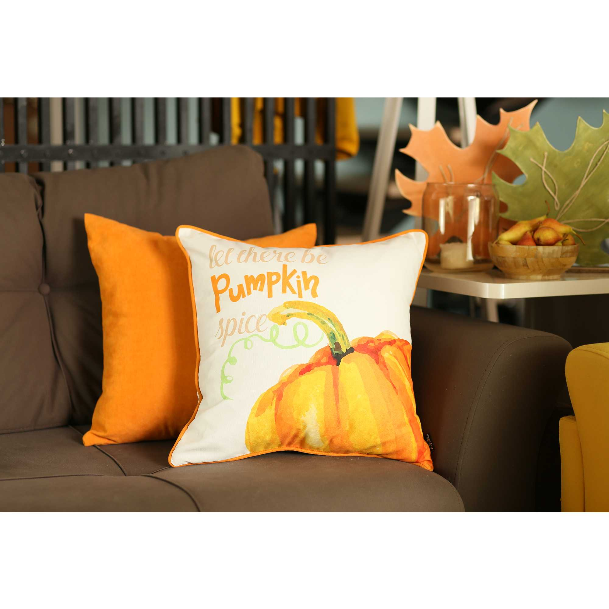 "18""x 18"" Thankful Pumpkin Love Printed Decorative Throw Pillow Cover"