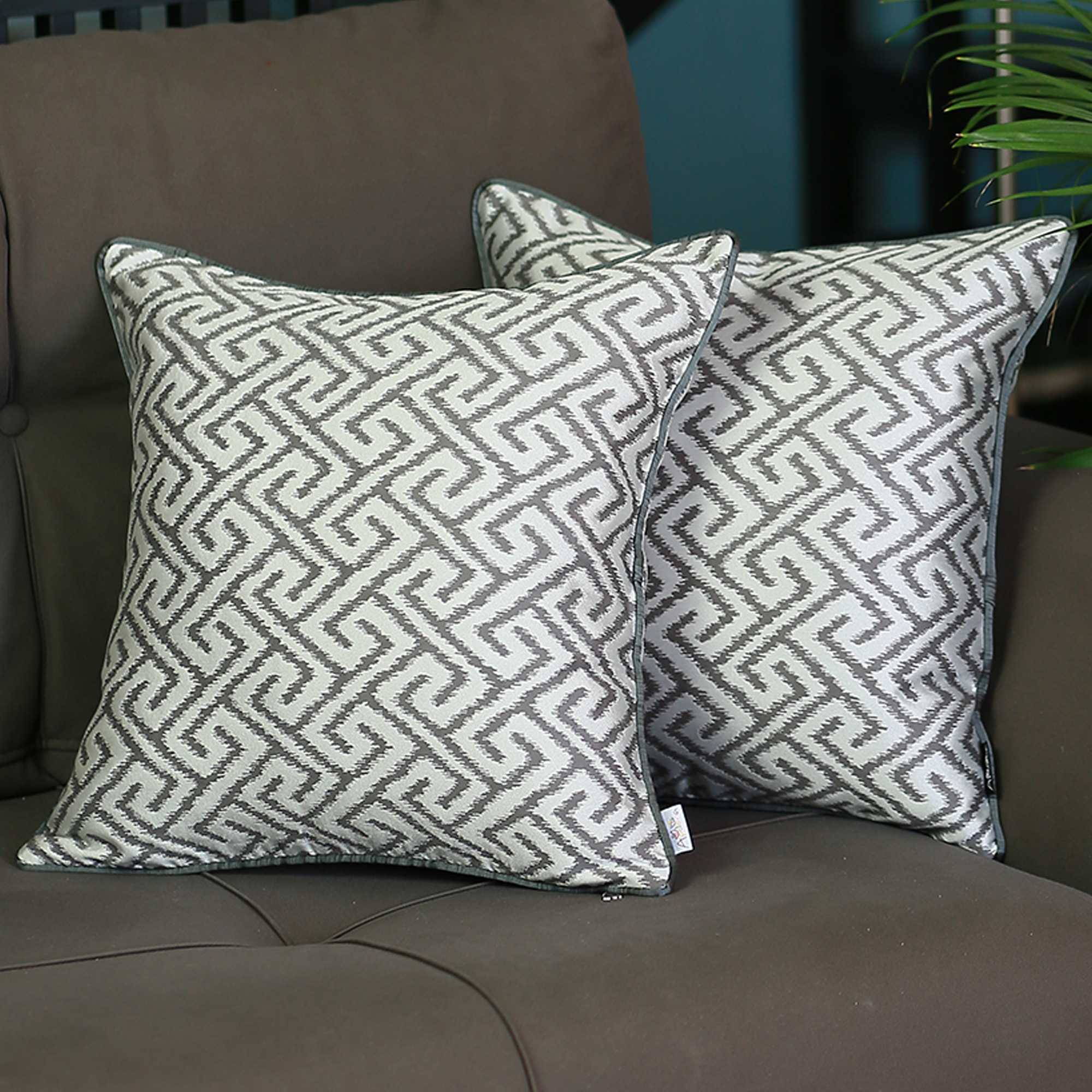 "17""x 17"" Gray Jacquard Shapes Decorative Throw Pillow Cover Set Of 2 Pcs Square"