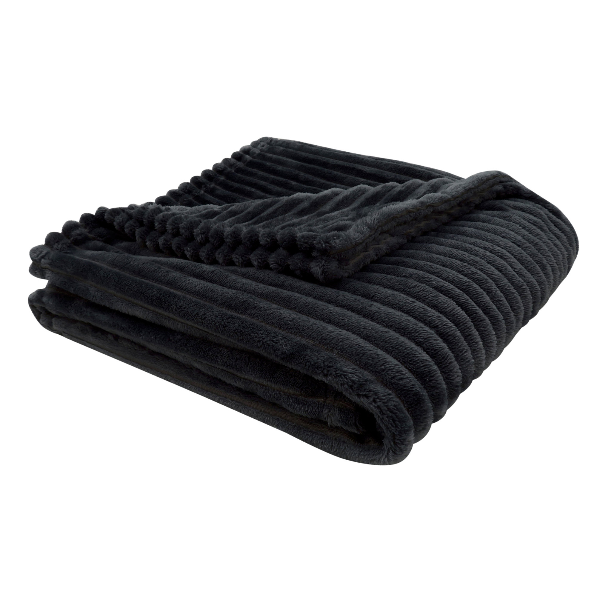 "50""x 60"" Throw Black Ultra Soft Ribbed Style"
