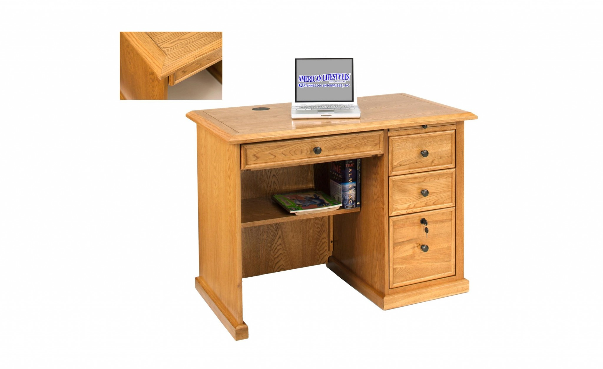 "42"" X 24"" X 30"" Harvest Oak Hardwood Desk"