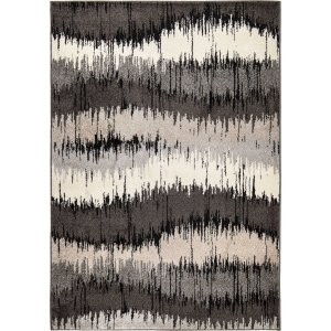 "94""x 130""x 0.55"" Stripes Grey Area Rug"