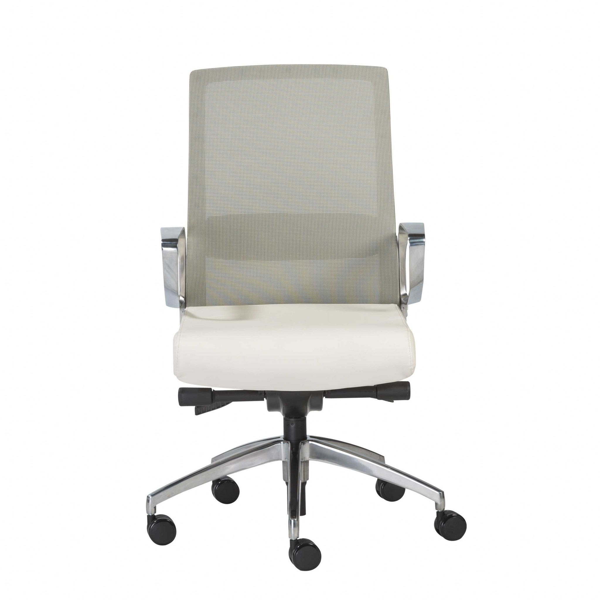 """25.99"""" X 24.81"""" X 42.92"""" Light Green Leatherette seat/Mesh Back Office Chair with Polished Aluminum Base"""