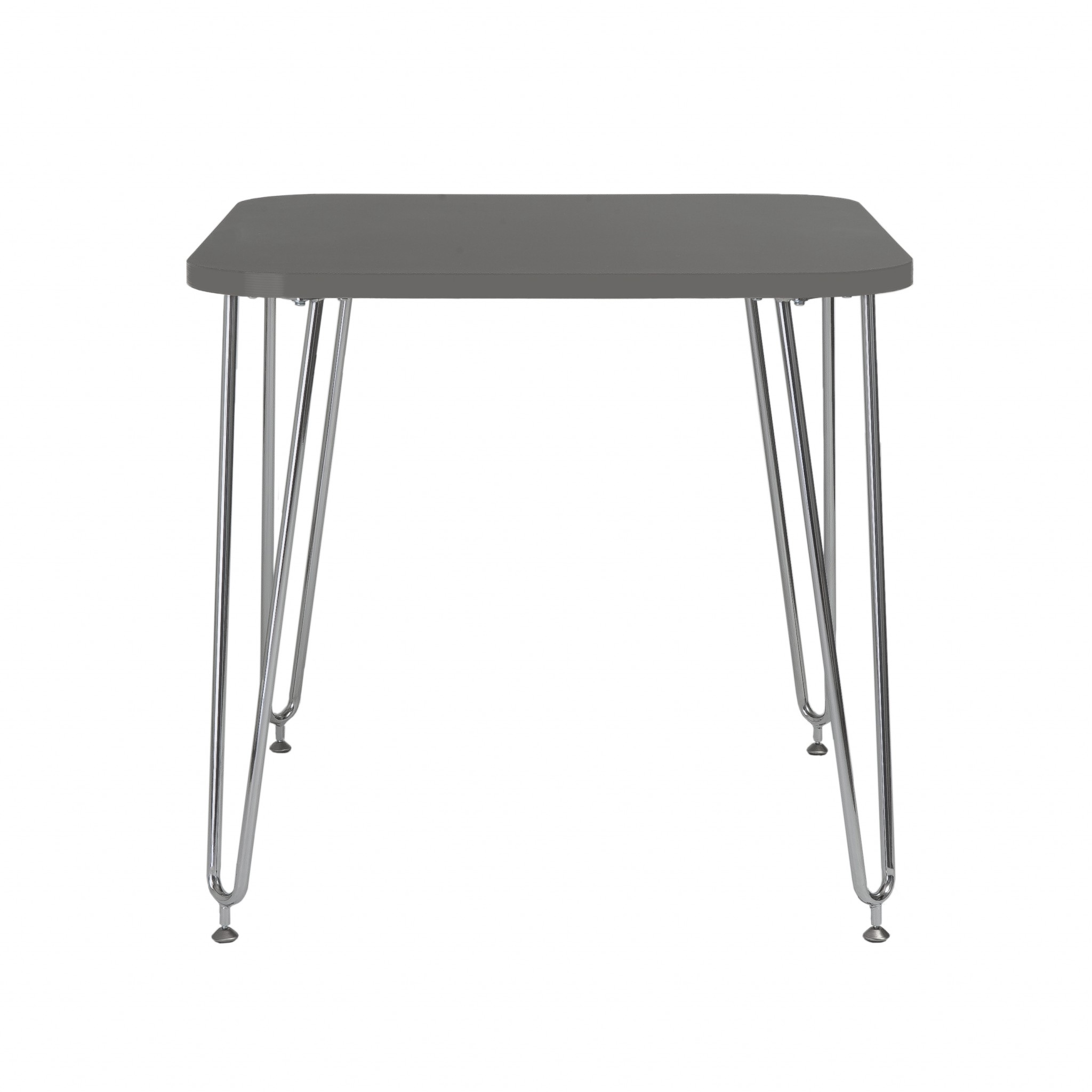 """31.5"""" X 31.5"""" X 30"""" Gray Melamine over Particle Board Activity Table with Chrome Legs"""