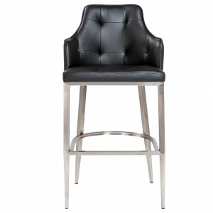 """22.05"""" X 22.84"""" X 44.1"""" Black Leatherette Bar Stool with Brushed Stainless Steel Legs"""