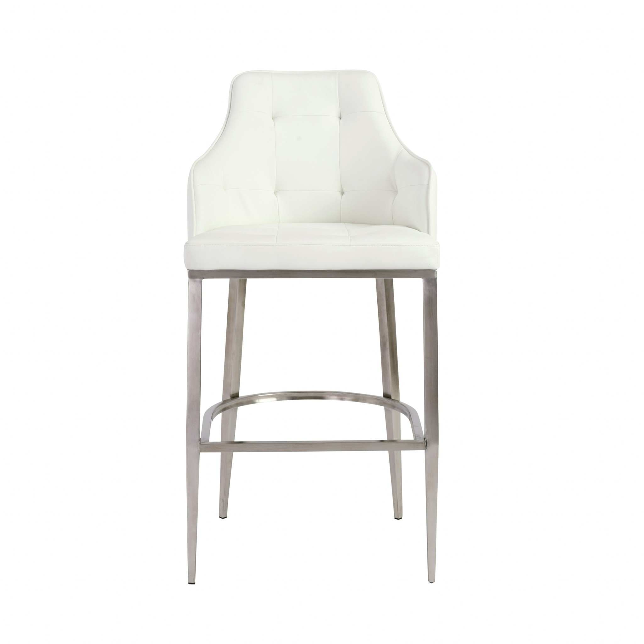 """22.05"""" X 22.84"""" X 44.1"""" White Leatherette Bar Stool with Brushed Stainless Steel Legs"""