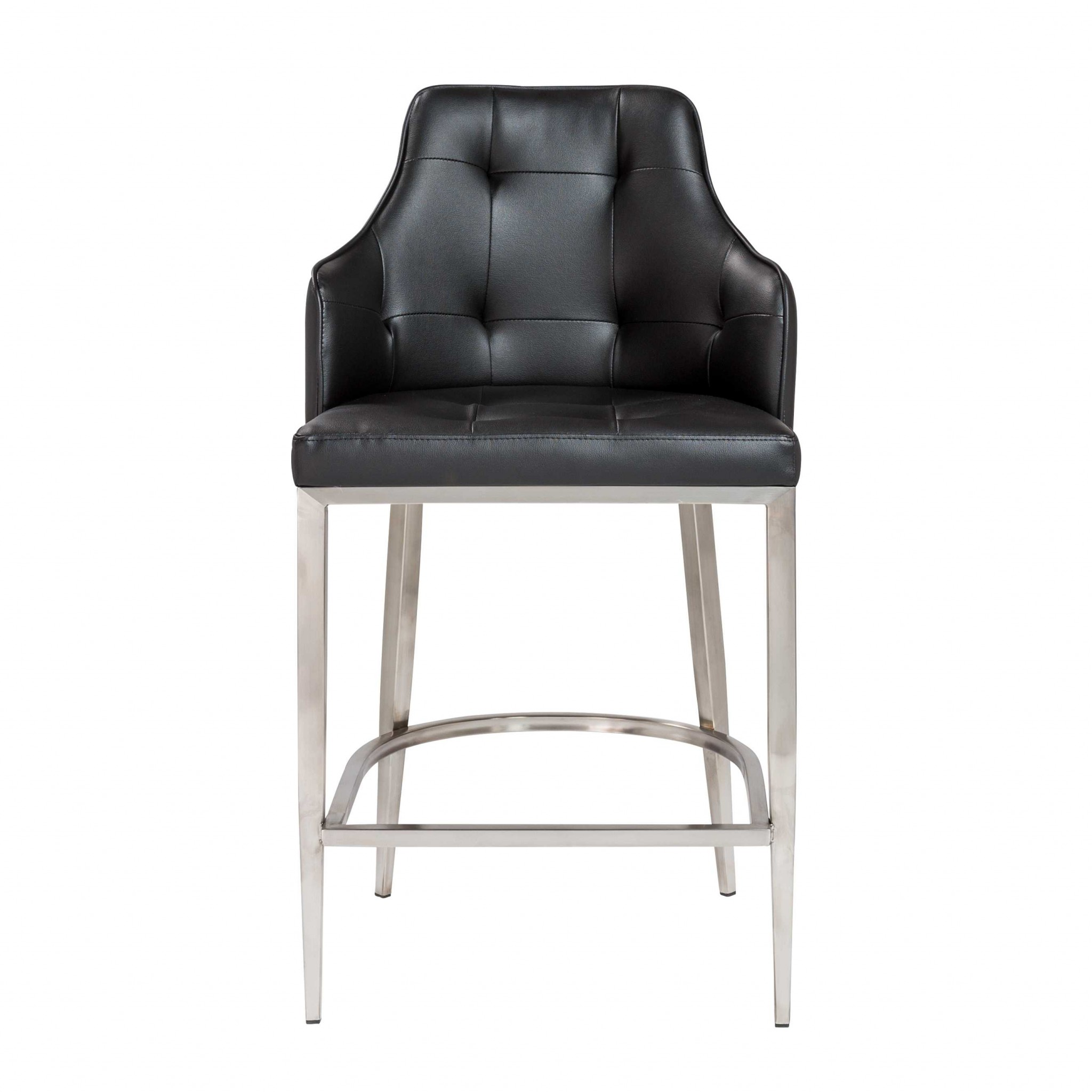 """22.05"""" X 23.63"""" X 38.98"""" Black Leatherette Counter Stool with Brushed Stainless Steel Legs"""