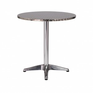 """27.5"""" X 27.5"""" X 28"""" Silver Stainless Steel Round Bistro Table with Aluminum Base"""