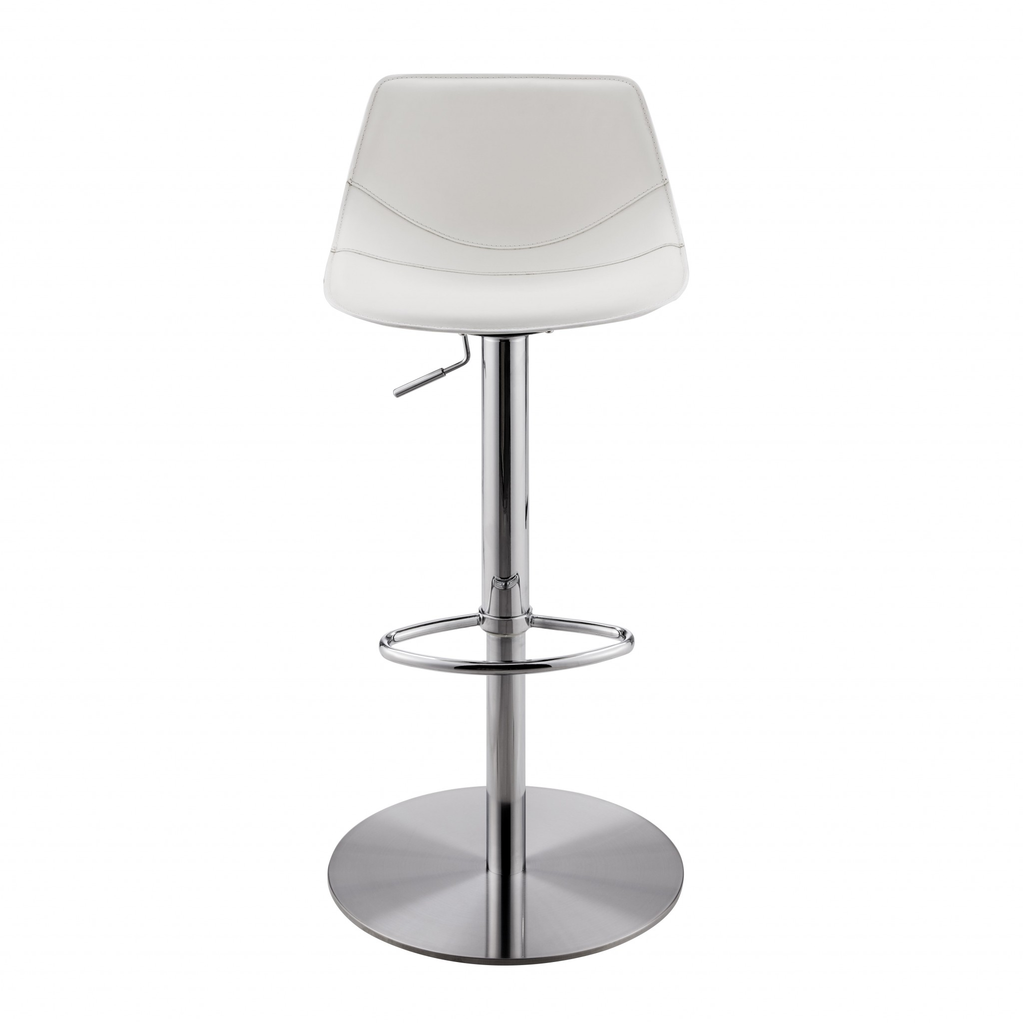 """18.12"""" X 18.9"""" X 39.57"""" White Leatherette Over Steel Frame Adjustable Swivel Bar/Counter Stool with Brushed Stainless Steel Base"""