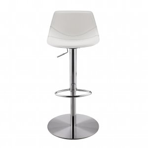 """18.12"""" X 18.9"""" X 39.57"""" White Leatherette Over Steel Frame Adjustable Swivel BarCounter Stool with Brushed Stainless Steel Base"""