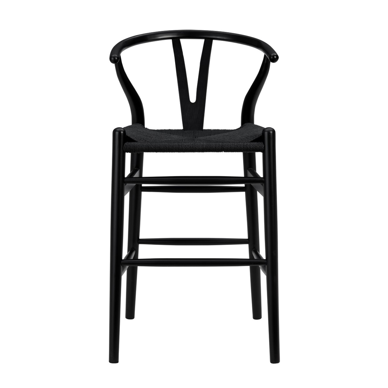 """20.08"""" X 20.87"""" X 38.19"""" Black Solid Beech Wood Counter Stool with Black Rush Seat"""