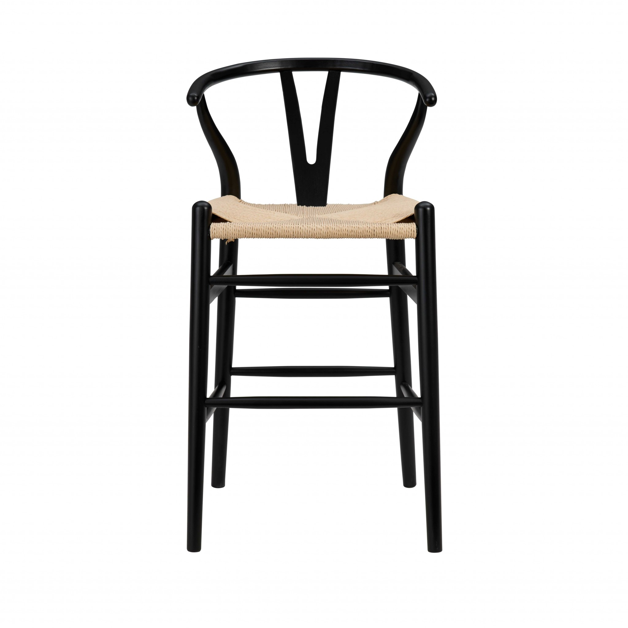 """20.08"""" X 20.87"""" X 38.19"""" Black Solid Beech Wood Counter Stool with Natural Seat"""