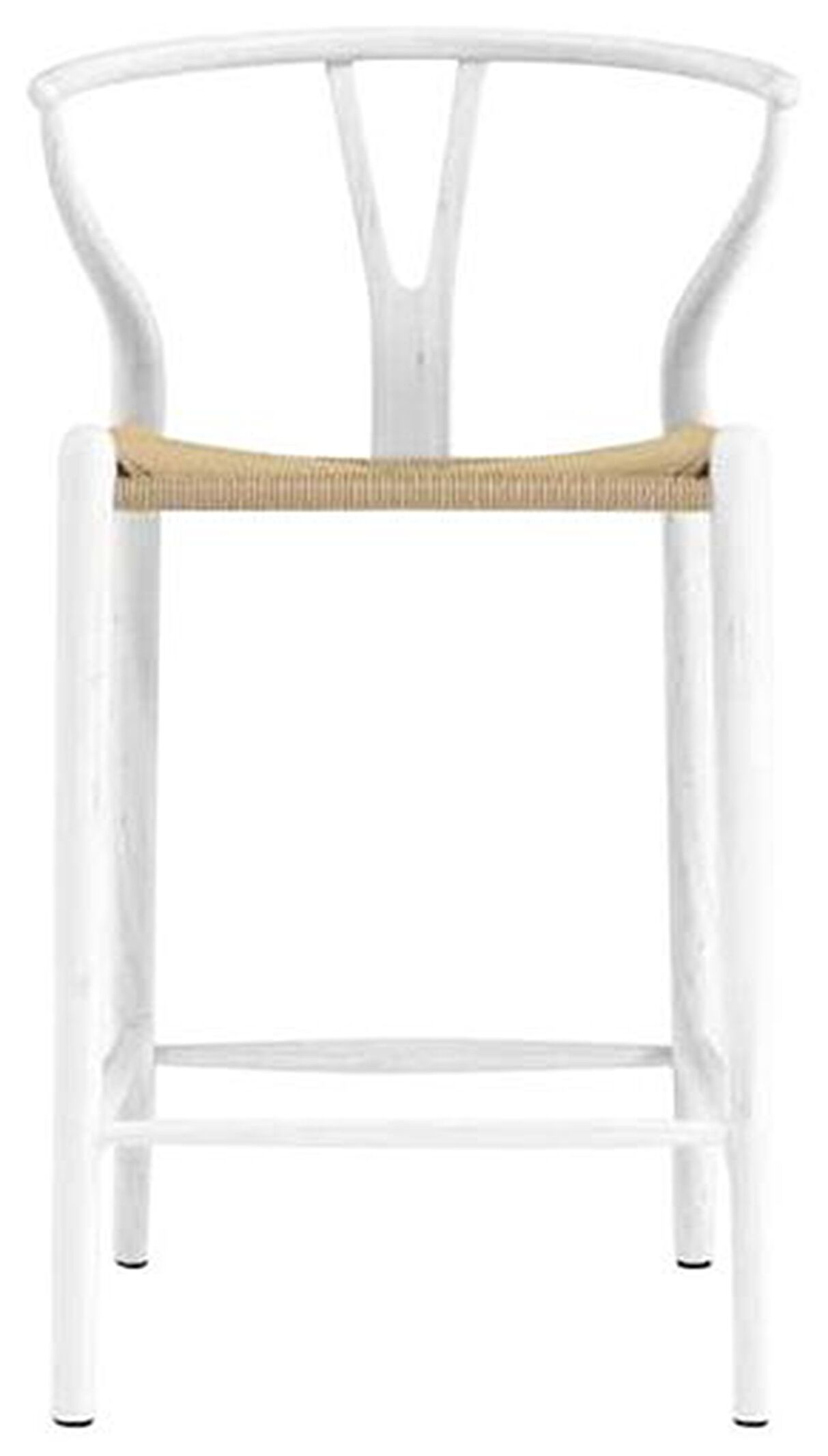 """20.08"""" X 20.87"""" X 38.19"""" Matte White Solid Beech Wood Counter Stool with Natural Seat"""