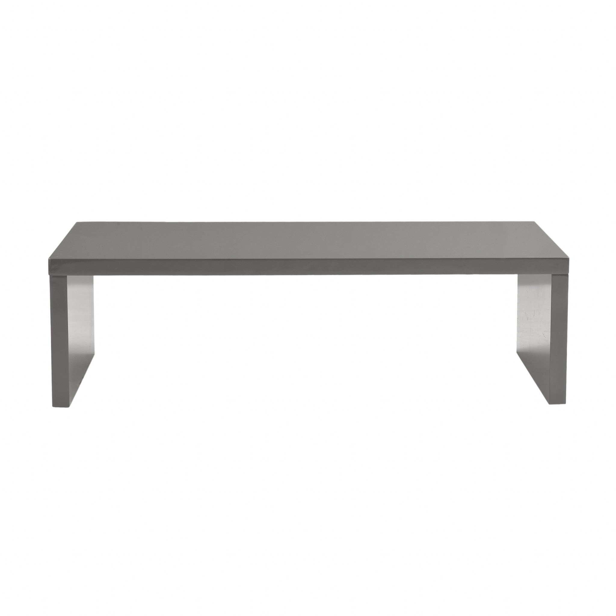 "47.25"" X 23.63"" X 13.98"" High Gloss Gray Lacquered MDF Rectangle Coffee Table"