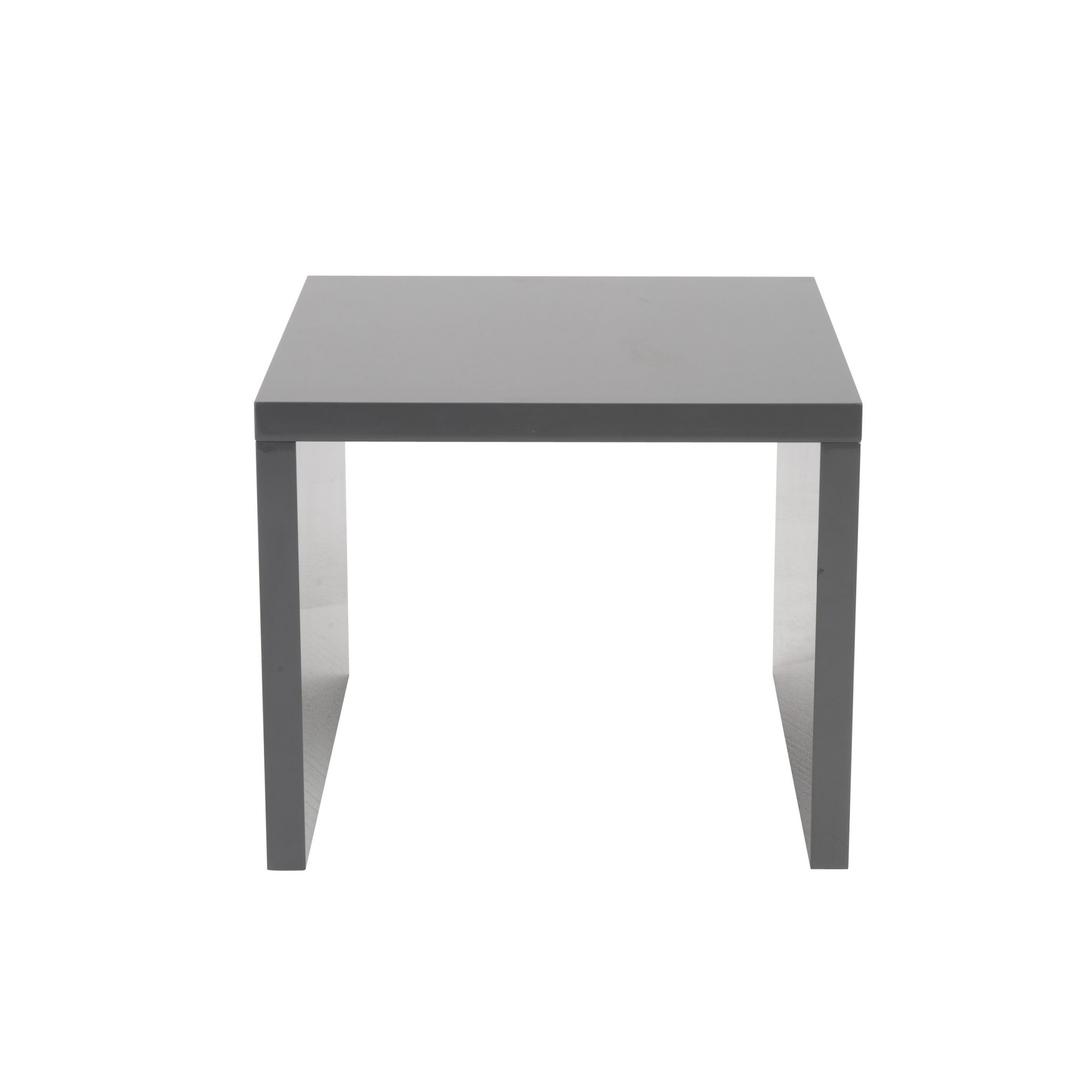 "23.63"" X 23.63"" X 20.08"" High Gloss Gray Lacquered MDF Square Side Table"