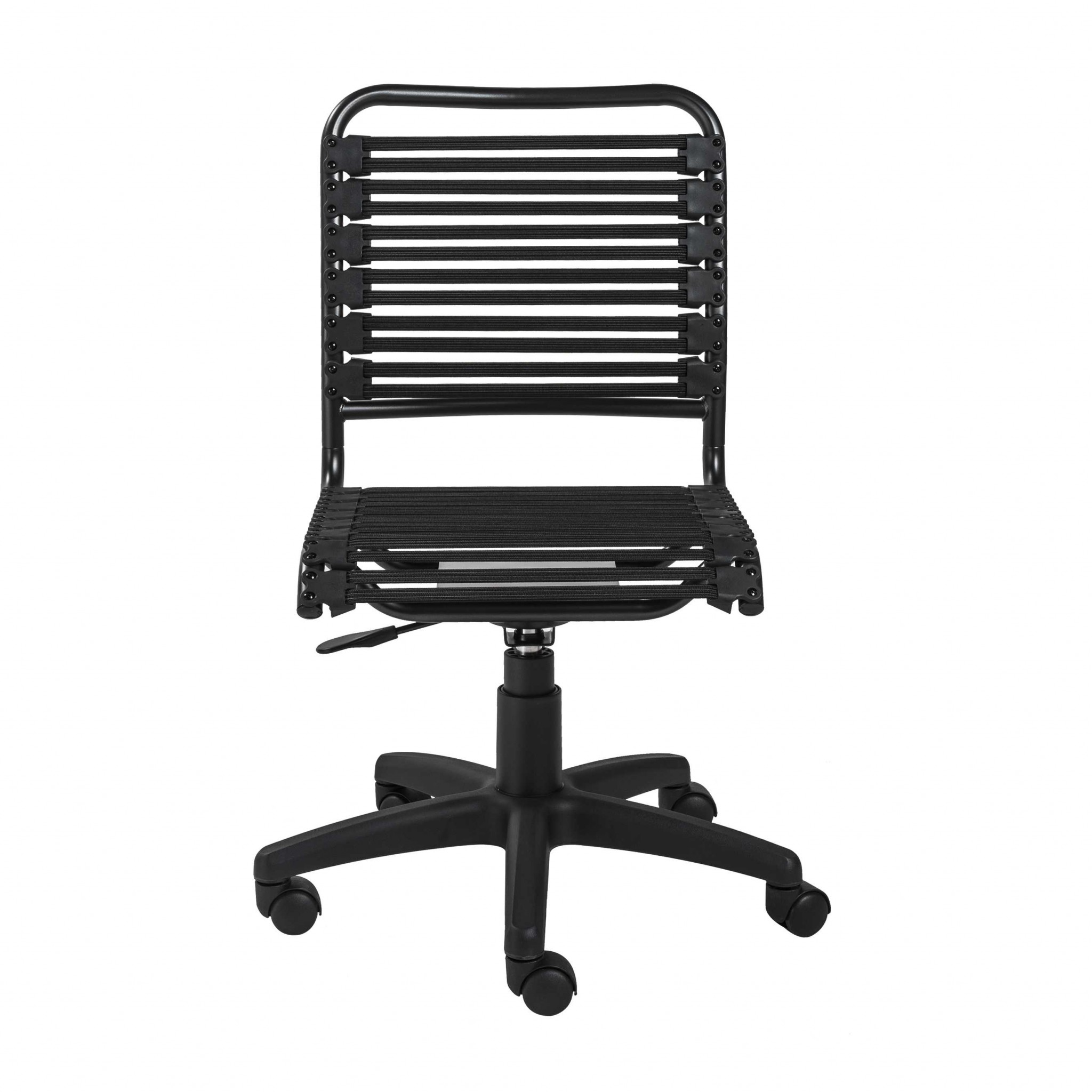"18.12"" X 24"" X 37.21"" Black Flat Bungie Cords Low Back Office Chair with Graphite Black Frame and Base"
