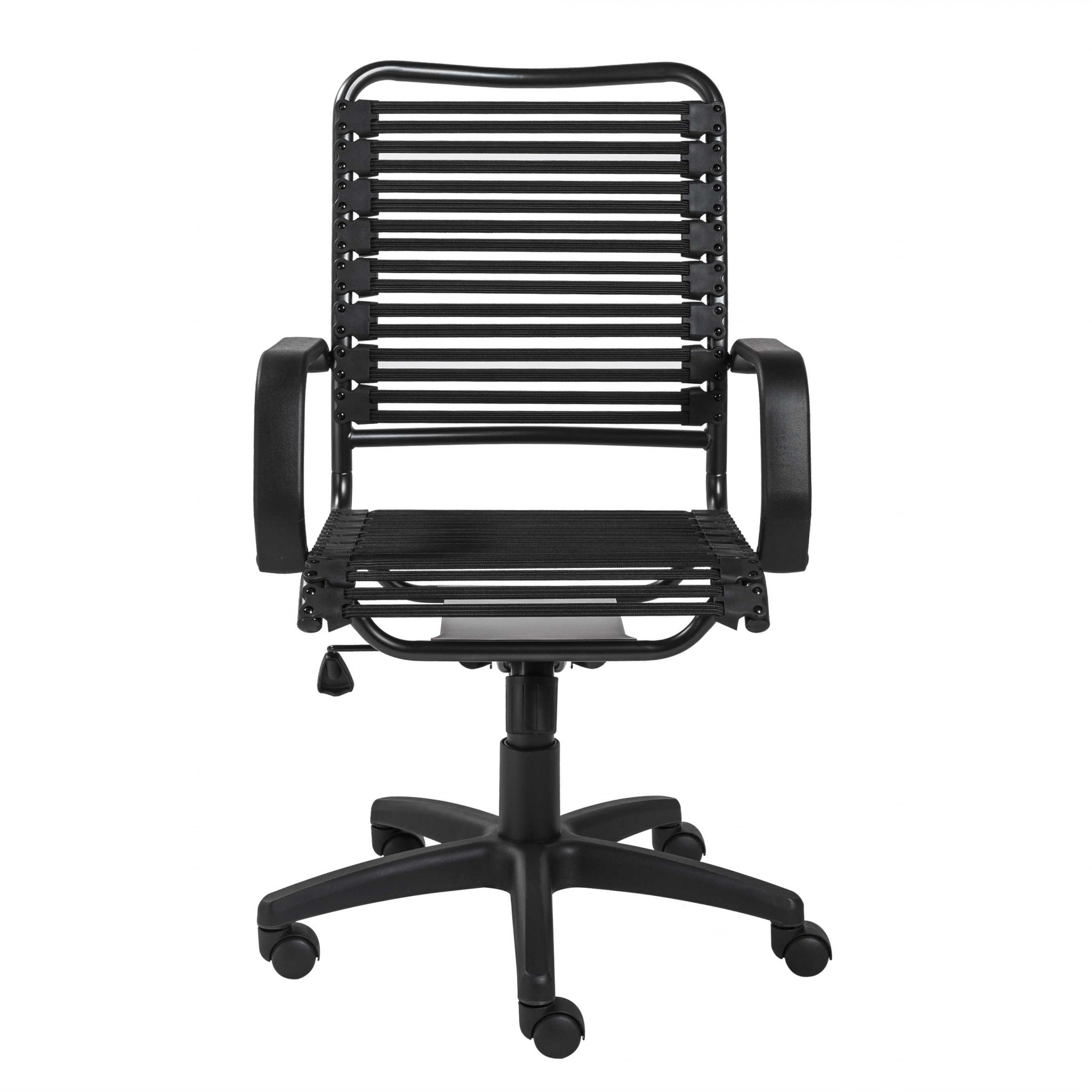 """23.04"""" X 25.6"""" X 41.74"""" Black Flat Bungie Cords High Back Office Chair with Graphite Black Frame and Base"""