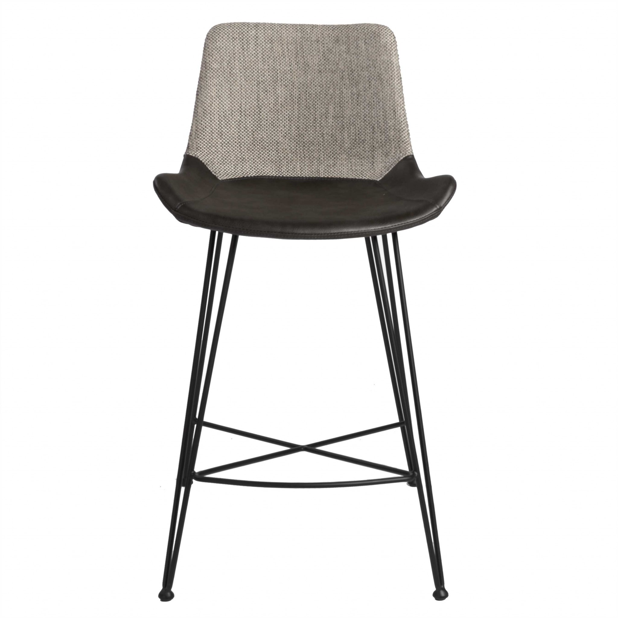"""22.45"""" X 19.3"""" X 35.83"""" Light Gray Leatherette Counter Stool with Matte Black Legs"""