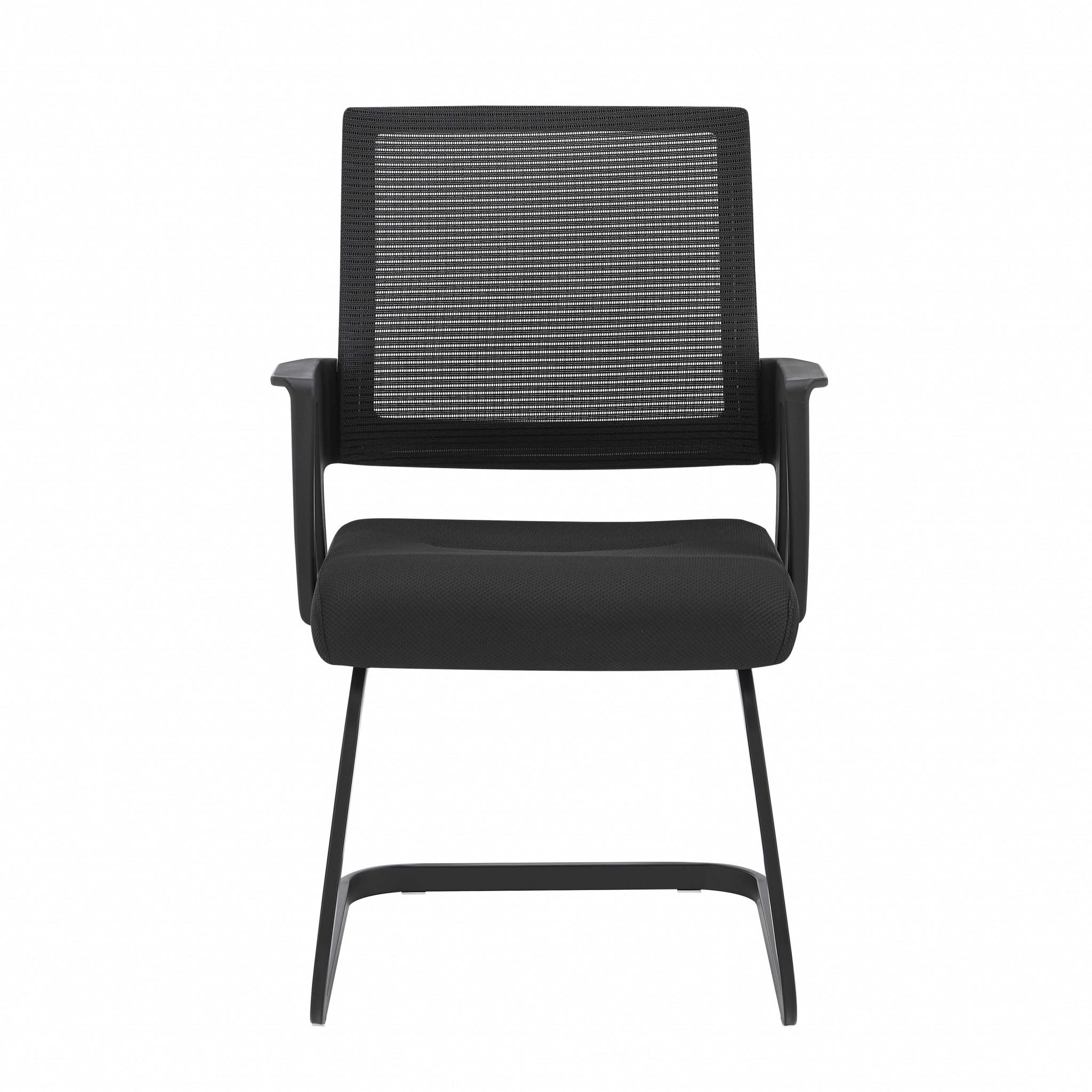 "22.01"" X 22.52"" X 34.02"" Black Fabric/Mesh Visitor Chair"