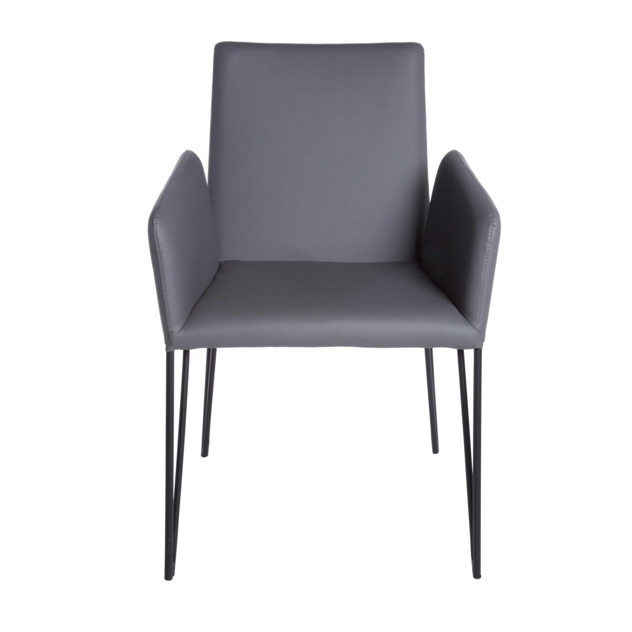 "22.45"" X 23.04"" X 35.63"" Dark Gray Leatherette over Foam Arm Chair"