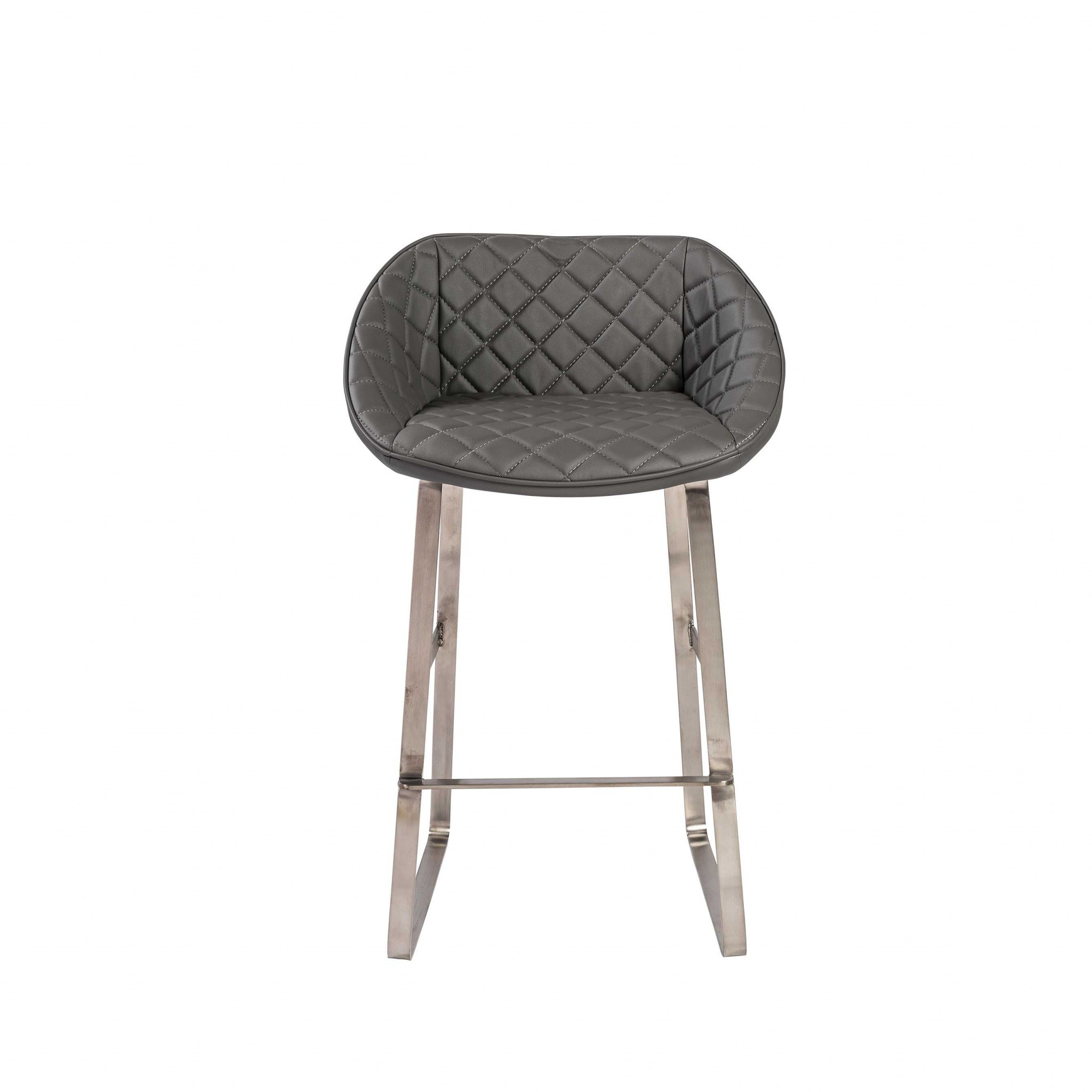 """22.45"""" X 19.69"""" X 35.24"""" Gray Leatherette Counter Stool with Brush Stainless Steel Base"""