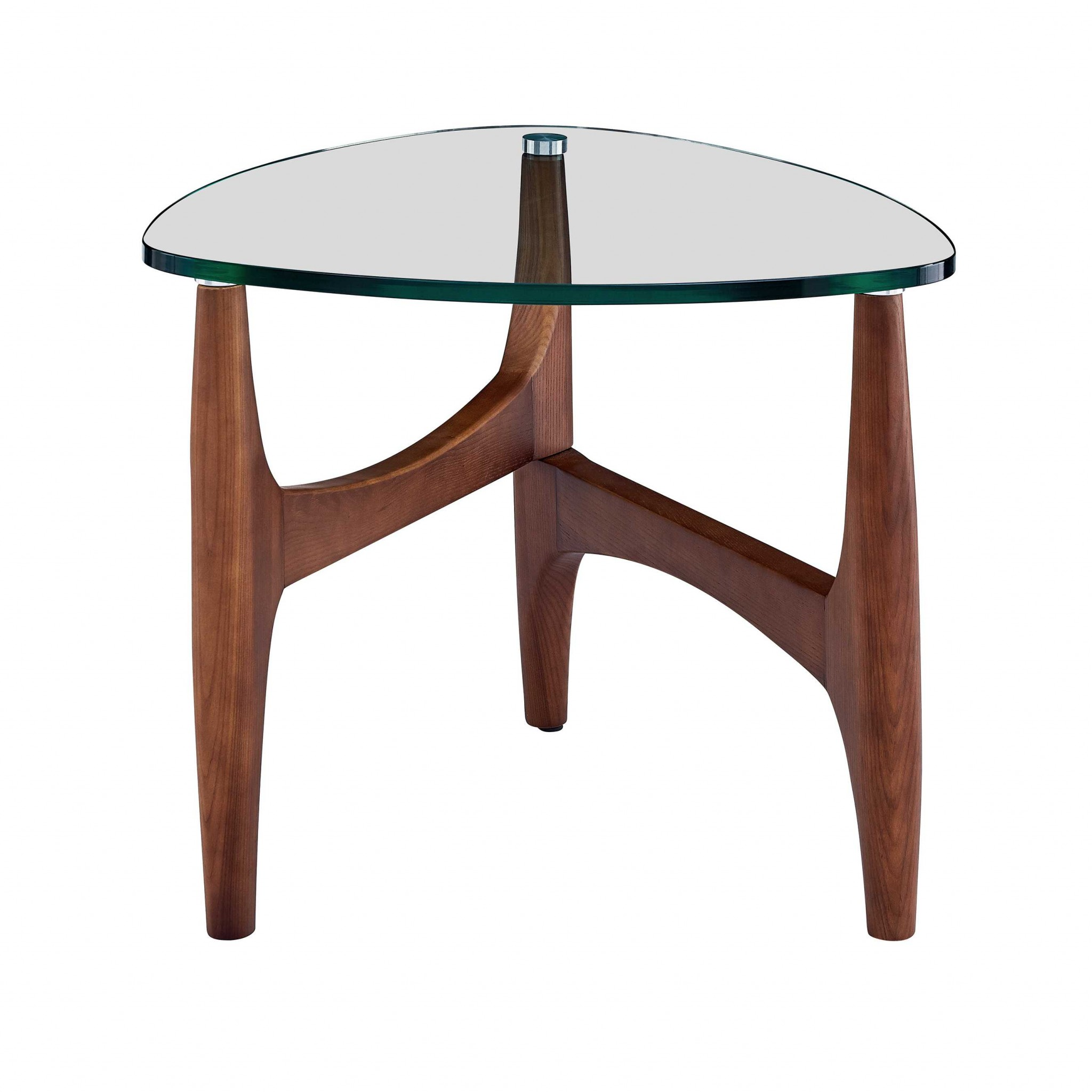 """23.63"""" X 23.63"""" X 19.69"""" Clear Tempered Glass Side Table with Walnut Base"""