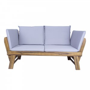 """60"""" X 24"""" X 29.5"""" Brown Acacia Wood Contemporary Cushioned Adjustable Wooden Bench"""