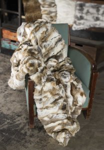 "2"" x 50"" x 60"" 100% Natural Rabbit Fur Tan & White Throw Blanket"