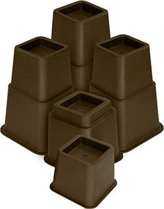 """3"""" 5"""" or 8"""" Brown Adjustable Bed Risers or Furniture Legs"""