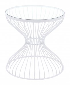 """19.7"""" x 19.7"""" x 19.7"""" White Tempered Glass Steel Side Table"""