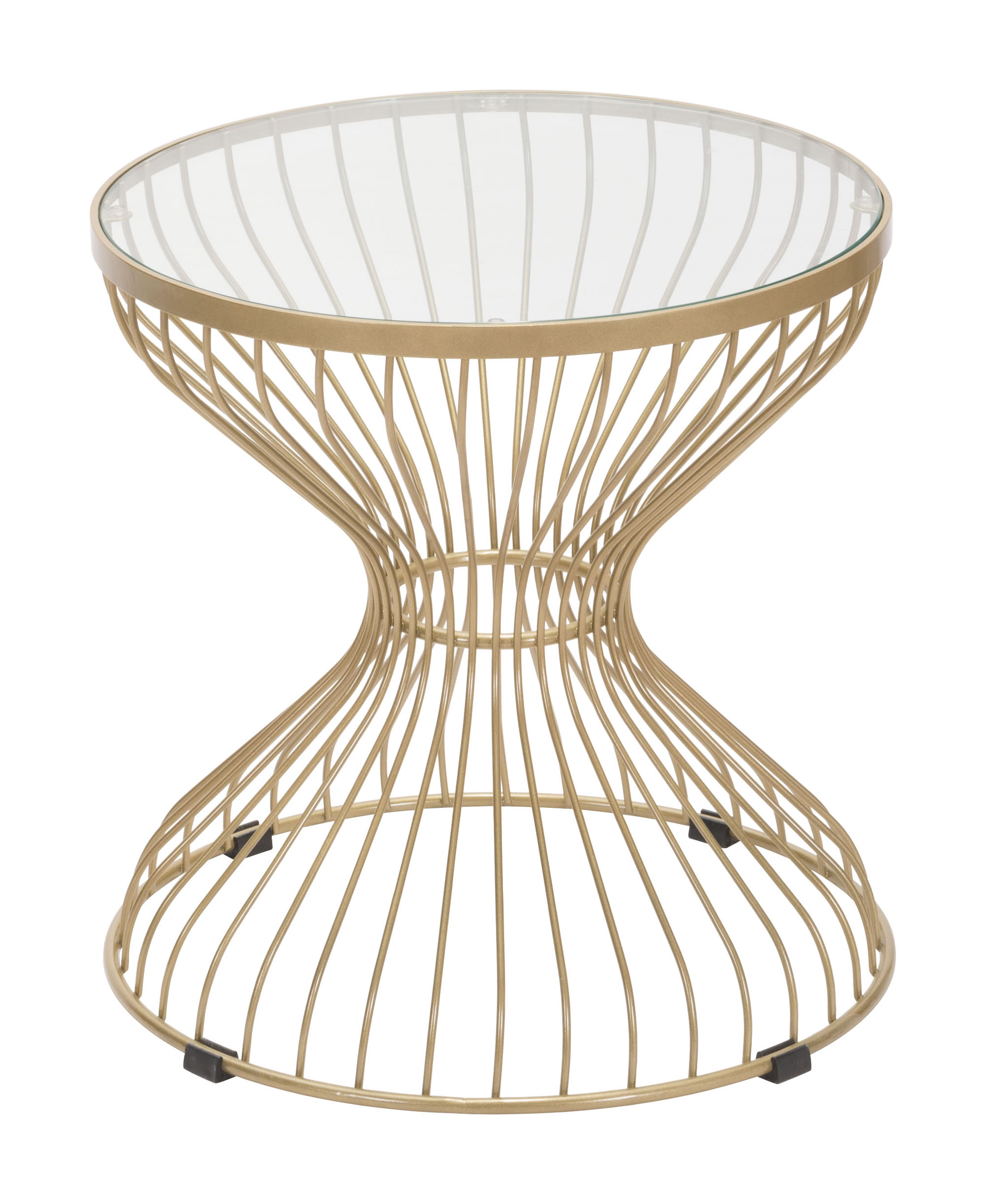 """19.7"""" x 19.7"""" x 19.7"""" Gold, Tempered Glass, Steel, Side Table"""