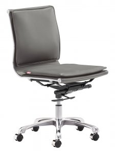 """23"""" x 23"""" x 36.6"""" Gray, Leatherette, Chromed Steel, Plus Armless Office Chair"""