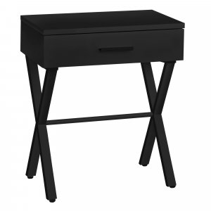 """18.25"""" X 12"""" X 22.25"""" Black Metal Accent Table"""