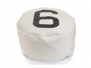 "28.35"" X 28.35"" X 15.75"" White Recycled Sailcloth Pouf Duo Dacron Grey 6"
